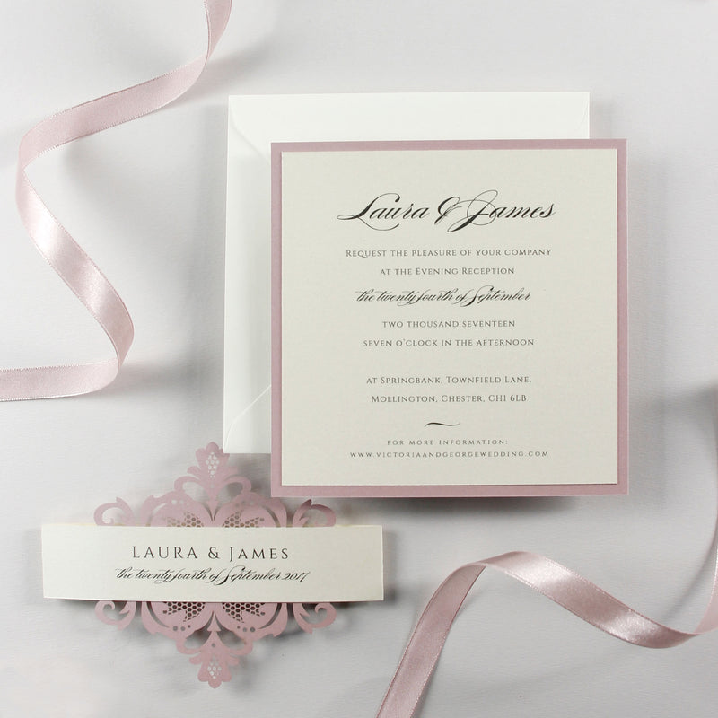 Our Blush and Cream Collections Matching Evening Card.
