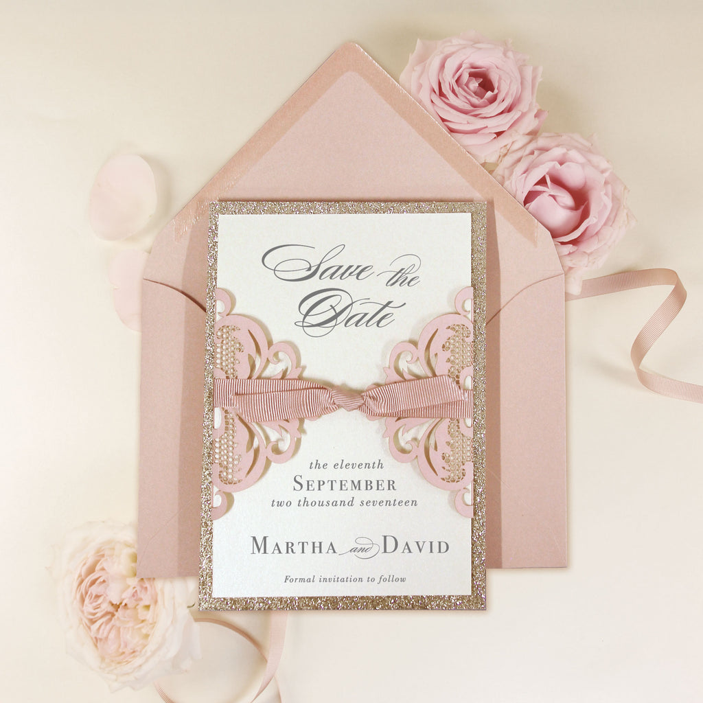 Rose Pink Opulence Luxury Gatefold Save the Date with Gold Glitter and Envelope