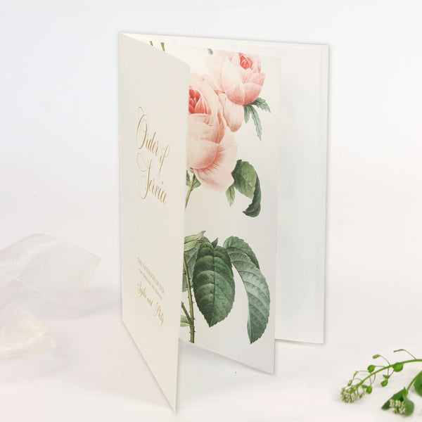 Luxury Gold Foil and Cream Romantic Roses Menu/ Order of service