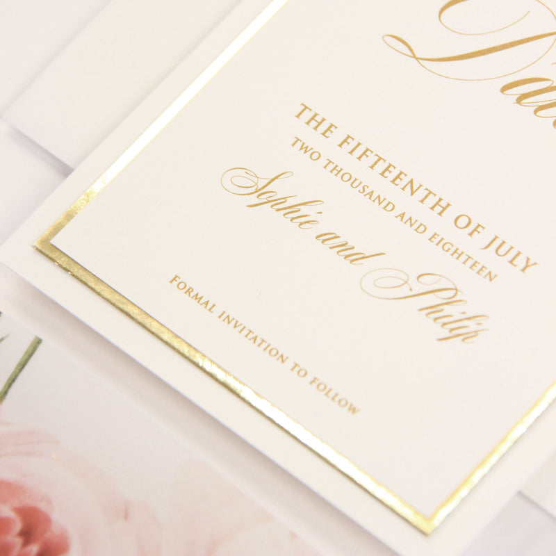 Luxury Gold Foil and Cream Romantic Roses  SAVE THE DATE with Parchment Belly Band