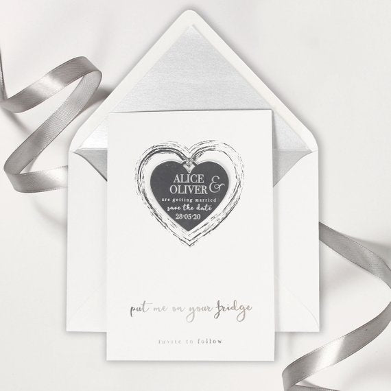 Sliver Foil and Mirror Save the Date Magnet in Plexi Engraving with Card and Envelope