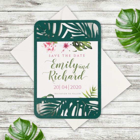 Save the date / Evening  Tropical Laser Cut Wedding Invitation, Boho, Destination Wedding, Palm Tree, British Columbia, Greenery, Plants Printed