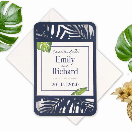 Navy Save the date / Evening  Tropical Laser Cut Wedding Invitation, Boho, Destination Wedding, Palm Tree, British Columbia, Greenery, Plants Printed