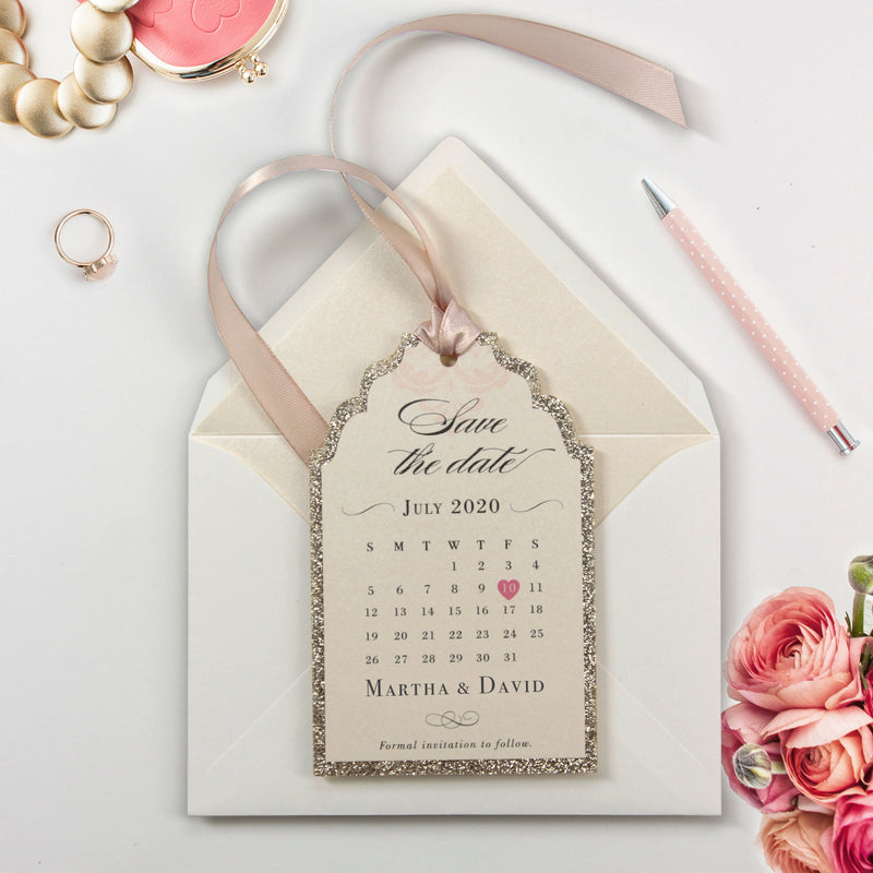 Luxurious Glitter Deckled Edge 600 gsm Calendar Style Tag with Monogram and satin ribbon Save the Date