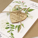 Wooden Engraved Heart Save the Date Fridge Magnet with Green Foliage