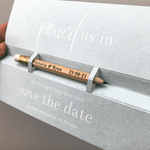 Pencil us in ✏ Save the Date Wedding Card with White Foil text and your names Engraved