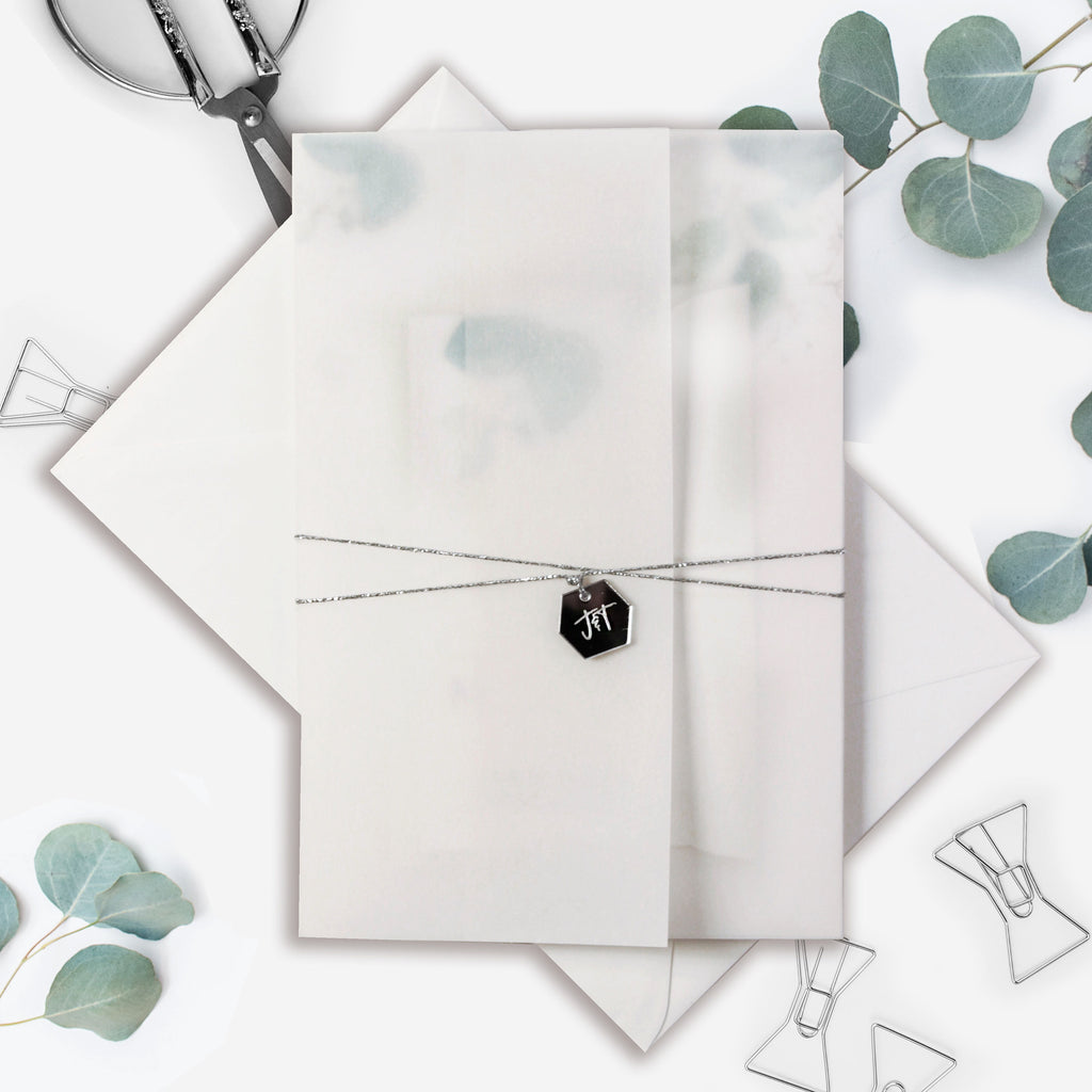 Eucalyptus Wedding invitation with Mirror Plexi Hexagon Tag in Vellum/ Parchment Suite