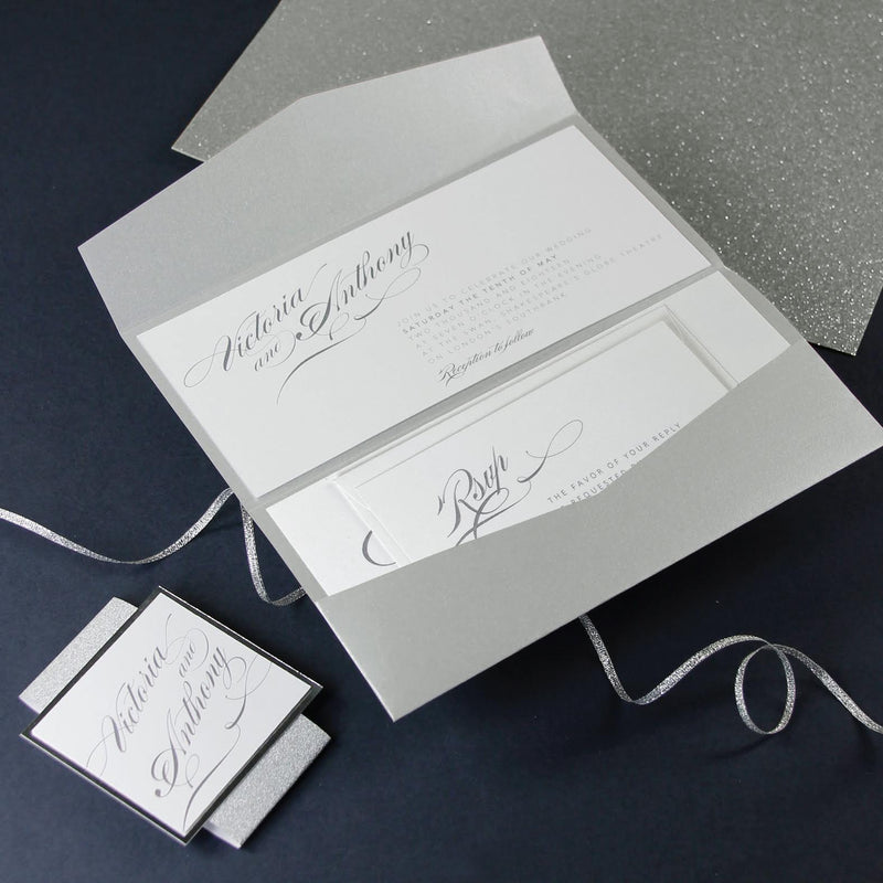 Grey and Sliver Glitter Slip Folder Design with Rsvp Included.
