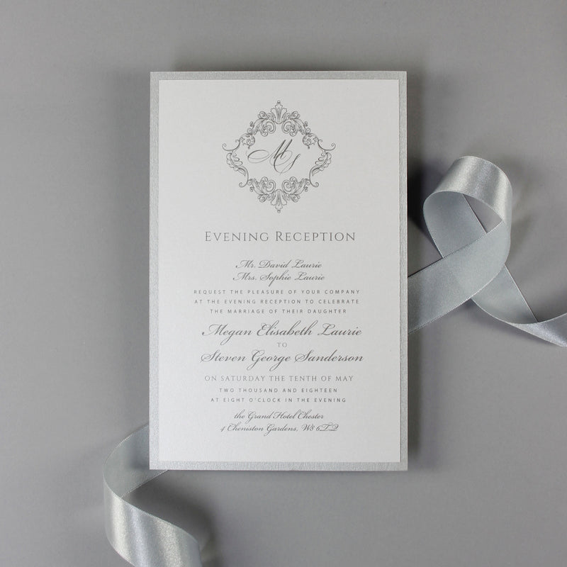 Mirror Shimmering Silver Bespoke Lasercut Monogram Pocket Wedding Invitation Suite