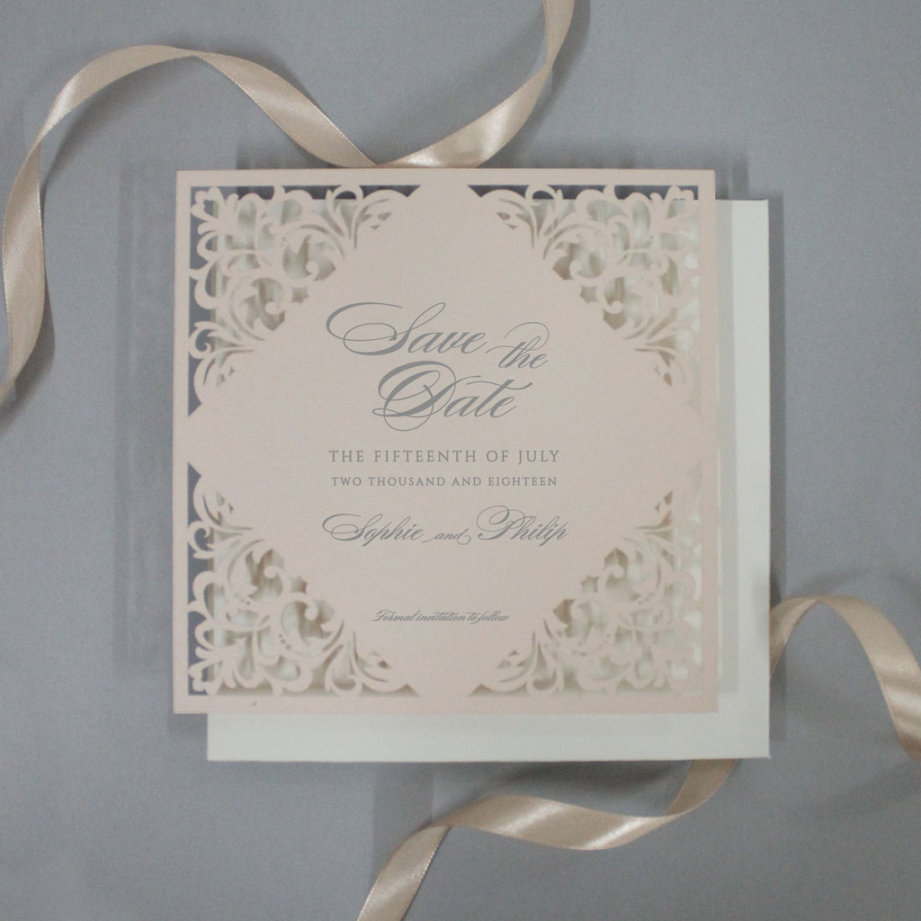 Soft Peach Laser Cut Lace Save the Date with Envelope