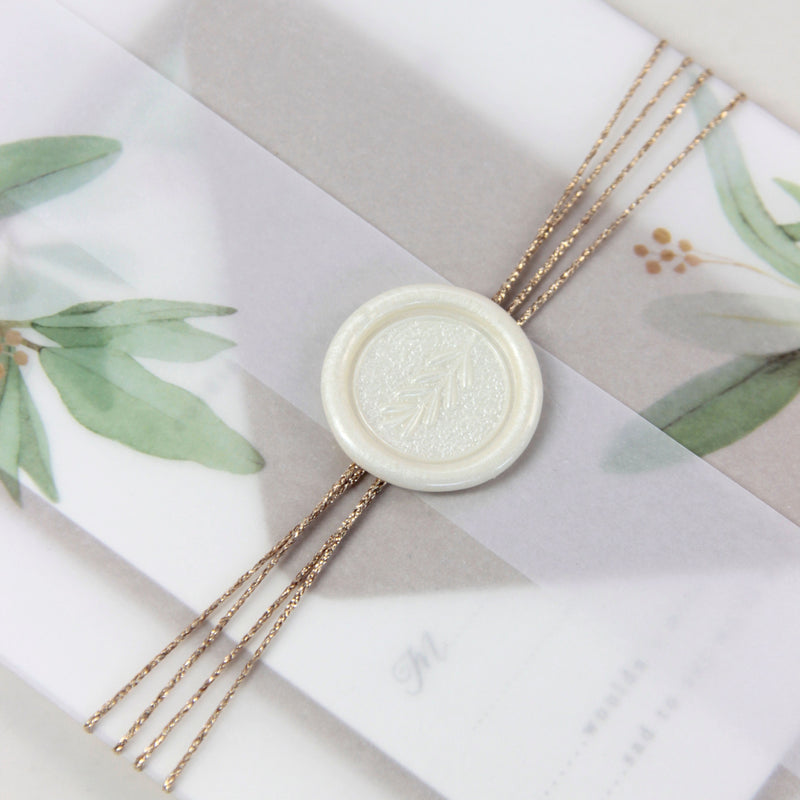 Greenery Vellum Sleeve Pocket fold Invitation with Gold Tie and Kraft Envelopes and add on of Pearl Wax Seal