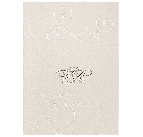 Embossed Cream Evening Invitation With Crystals