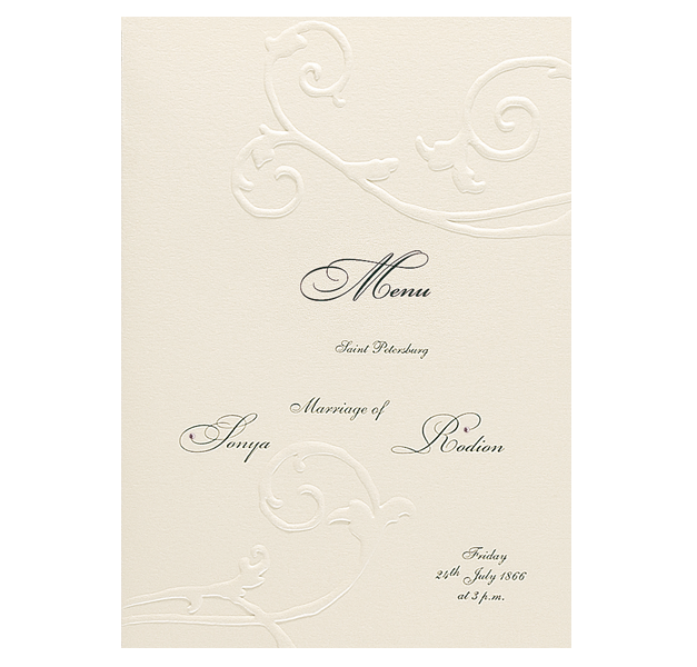 Embossed Cream Order of Service / Menu