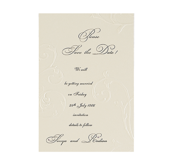 Embossed Cream Save the Date / Thank You / Reply Card