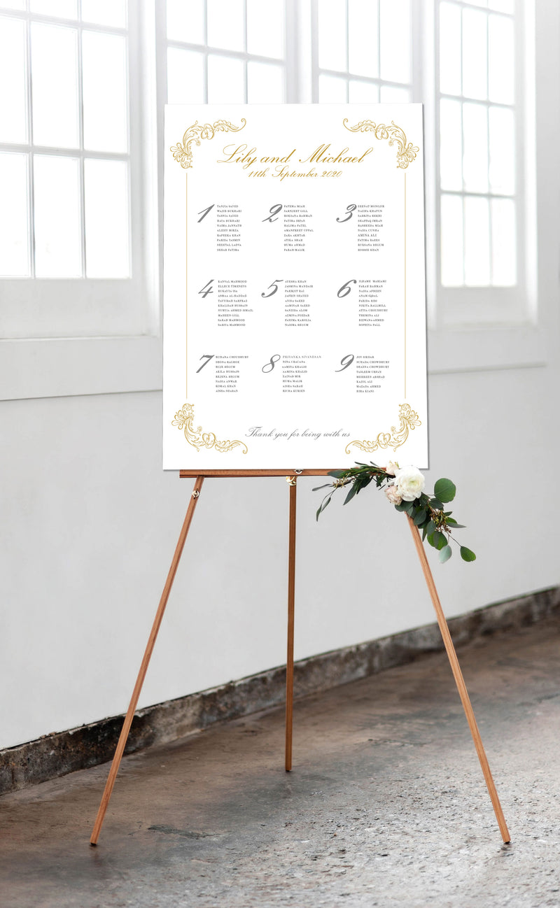 Luxury Gold Foil Matching Poster Style Wedding Table Plan