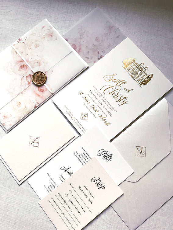 SAMPLE | Iscoyd Park Custom Venue Invitation with Vellum Sleeve Pocket and Gold Foil