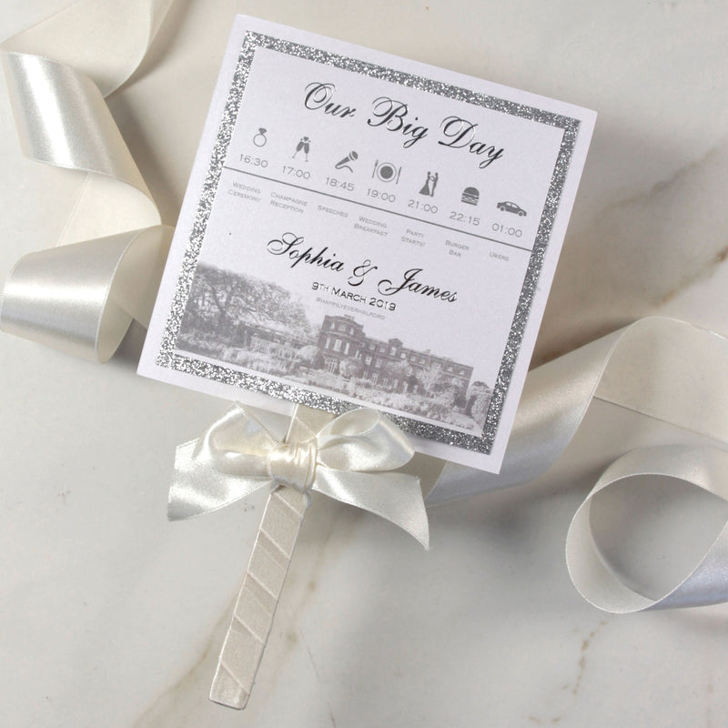 Wedding Paddle Fan Order Of Service with Timeline, Venue Classic Elegence Wedding Order of Day