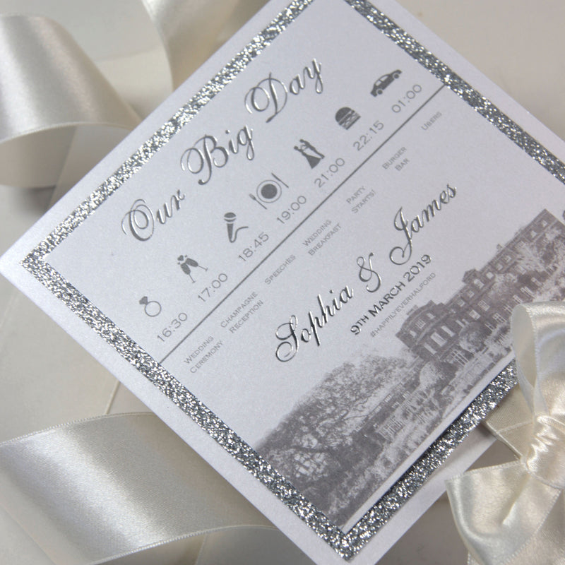 Wedding Paddle Fan Order Of Service with Timeline, Classic Elegence Wedding Order of Day