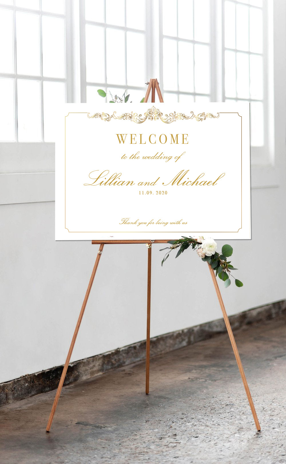 Luxury Gold Foil Matching Welcome Wedding Sign