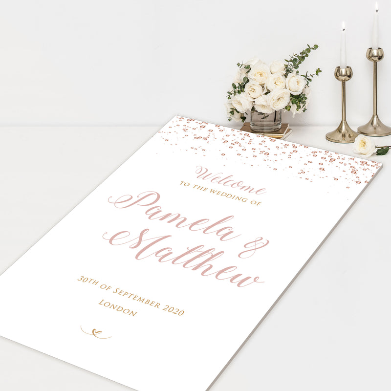 Confetti Welcome Wedding Sign