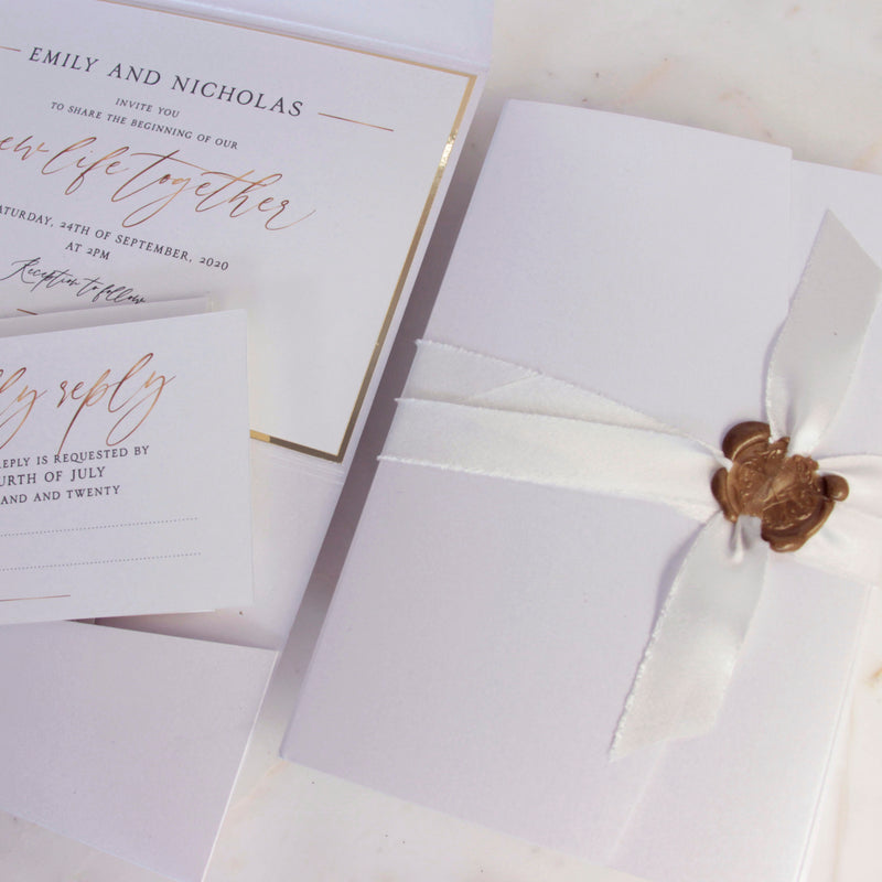 Cupid's Amore Classic Wax Seal Envelope Fold Folder in White with Satin raw ribbon and Gold Details