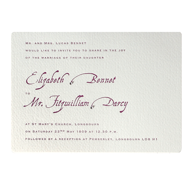 Purple Letterpress Evening Wedding Invitation