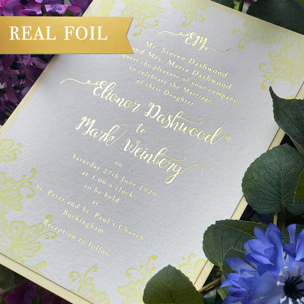 Yellow Foliage Flowers Letterpress Lace Wedding Day Invitation with Gold Foil