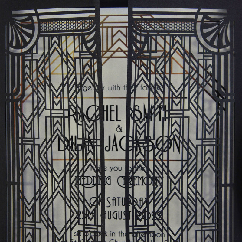 Art Deco Black Intricate Lasercut Gate, Great Gatsby Wedding Invitation with Belly Band Monogram.
