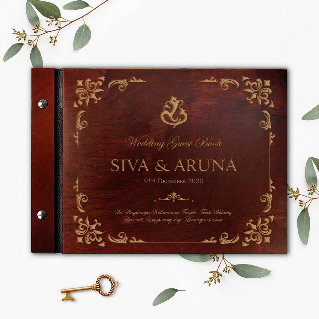 Asiana 30 Sheet Large Wooden Wedding Guest Book / Photo Album