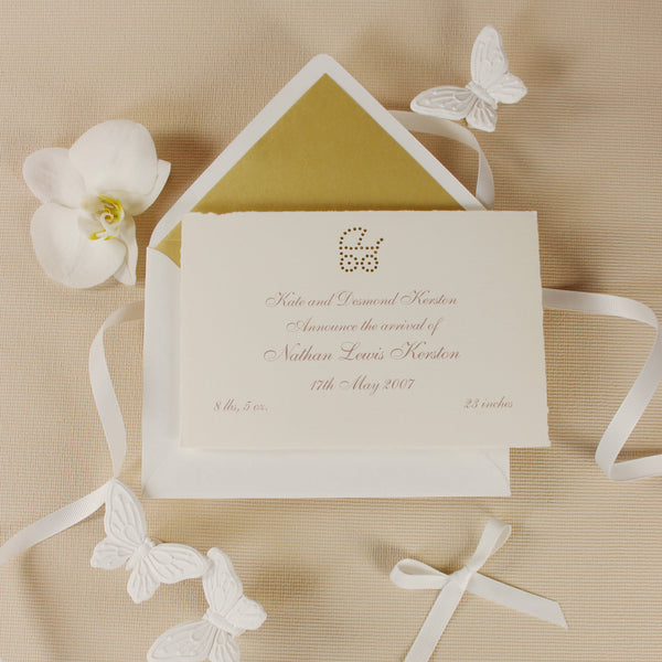 Baby Announcement Luxury Card with Gold Foil Embossing