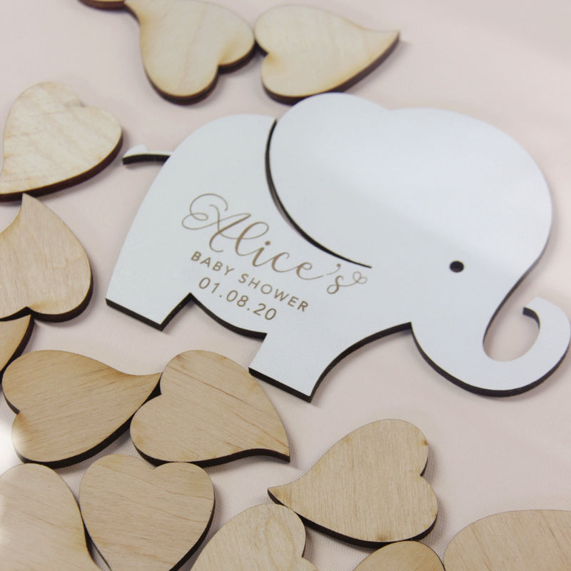 Little Elephant with trunk up Baby Girl Blush Pink | Personalised  Baby Shower Guest book Drop box