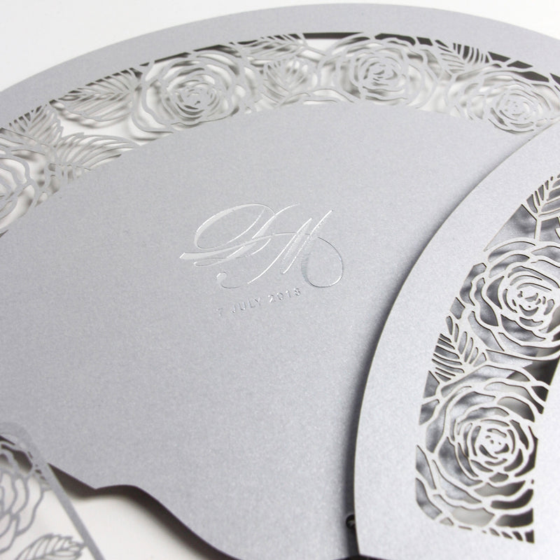 Intricate Romantic Roses Laser Cut Wedding Petal Program Fan with Unique Luxury Foil Monogram