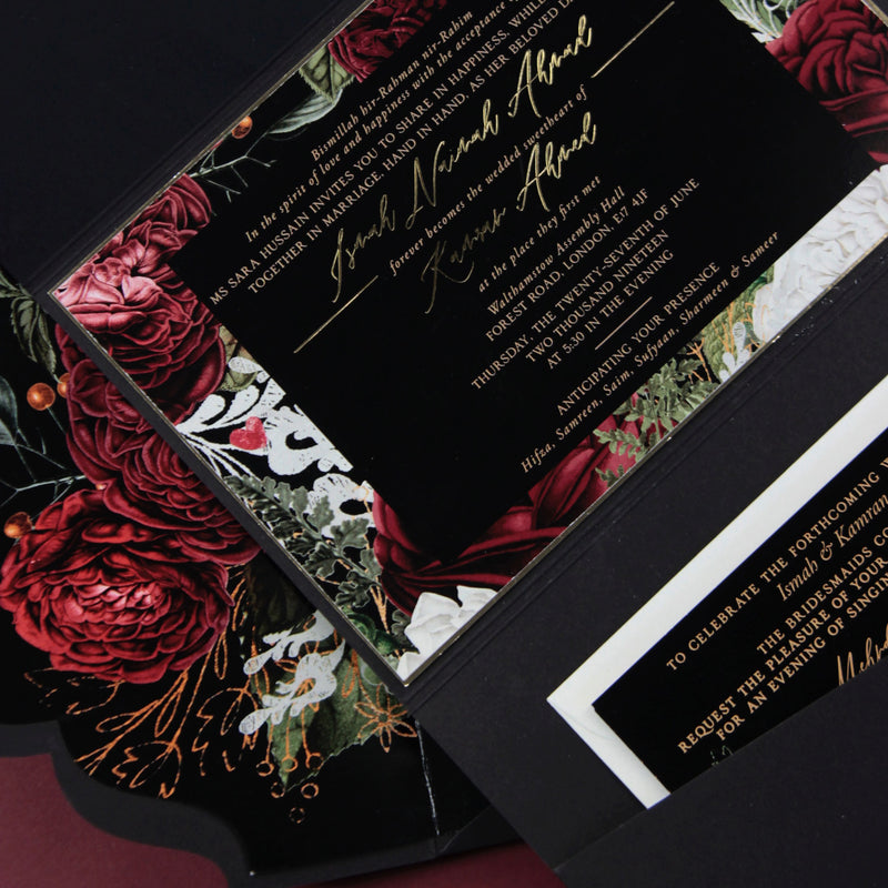Deckled Edge Suite with Black Envelope Fold Pocket with Floral Accents in Black & Gold Foil + Gold Wax Seal Closure