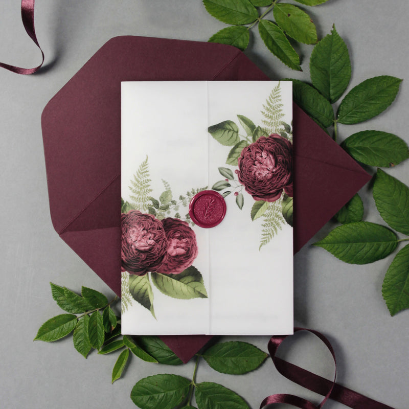 Modern Calligraphy Vellum Parchment Sleeve Invitation with Deep Red Floral Accents and Bordeaux Wax Seal