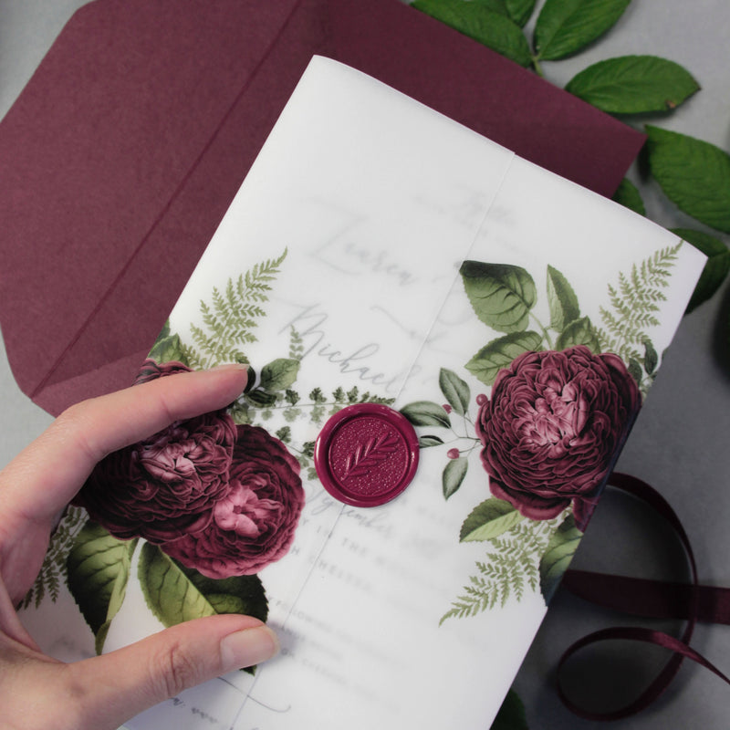 Modern Calligraphy Vellum Parchment Sleeve with Deep Red Floral Accents and Bordeaux Wax Seal