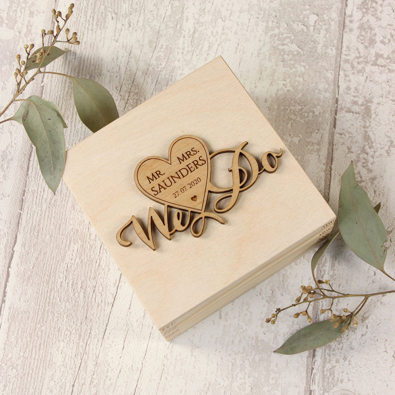 """We Do"" Wooden Wedding Ring Box design 4"