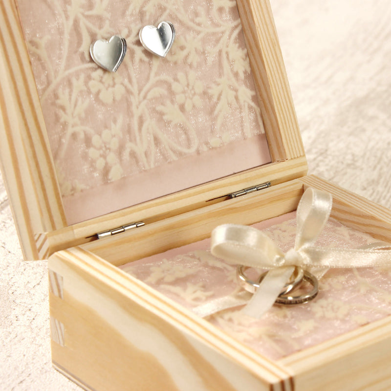 Rustic Flower Wreath Wooden Wedding Ring Box design 7