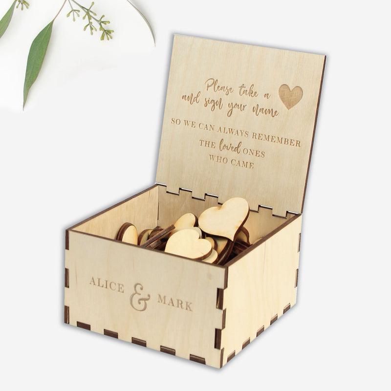 SMALL FRAME - Engraved Personalised  Drop Box Gift Wooden Chest with Pen