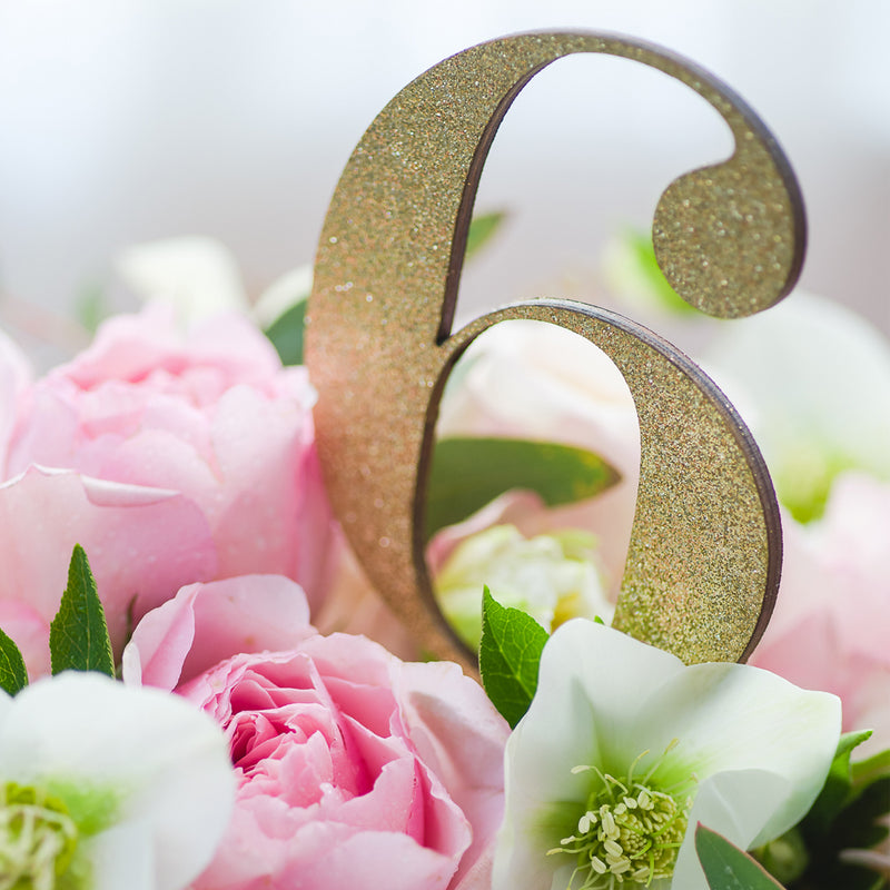 Gold Glitter Table Number Laser Cut - Numeral with Stand
