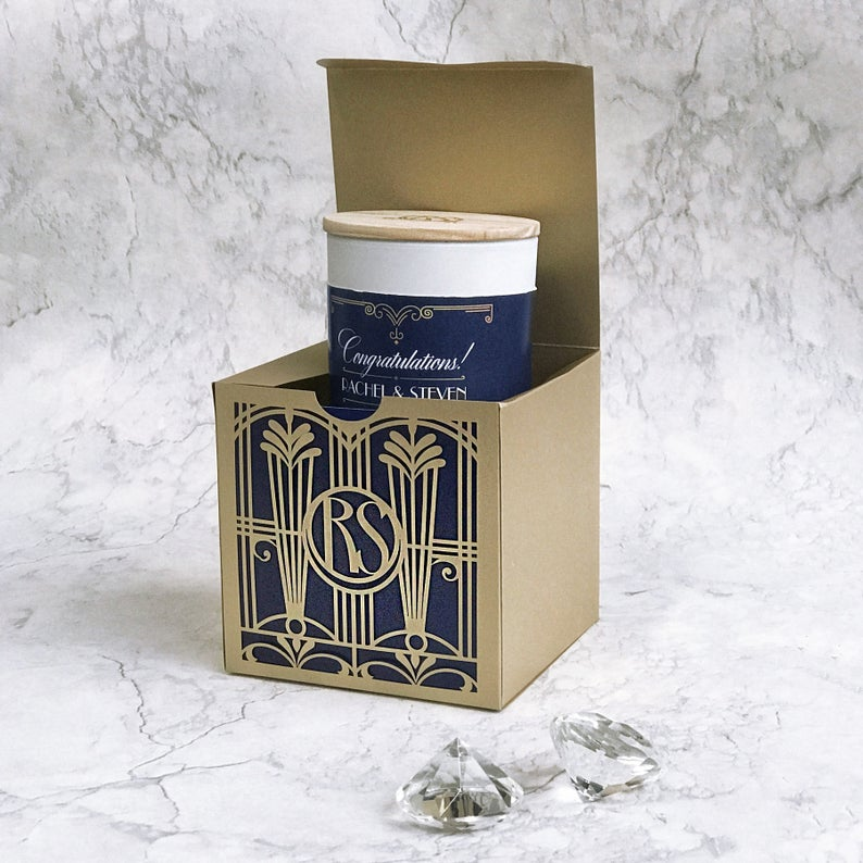 Custom Soy Wax Candle in Golden Art Deco Great Gatsby Luxury Gift Box