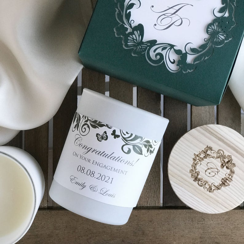 Luxury Personalised Soy Wax Candle Mystical Elegance Butterfly Forest Green Gift Box