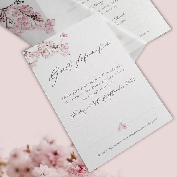 Sweet Cherry Tree Calligraphy Vellum Parchment Sleeve with Silk Torn Edge Ribbon and Rose Gold Wax Seal