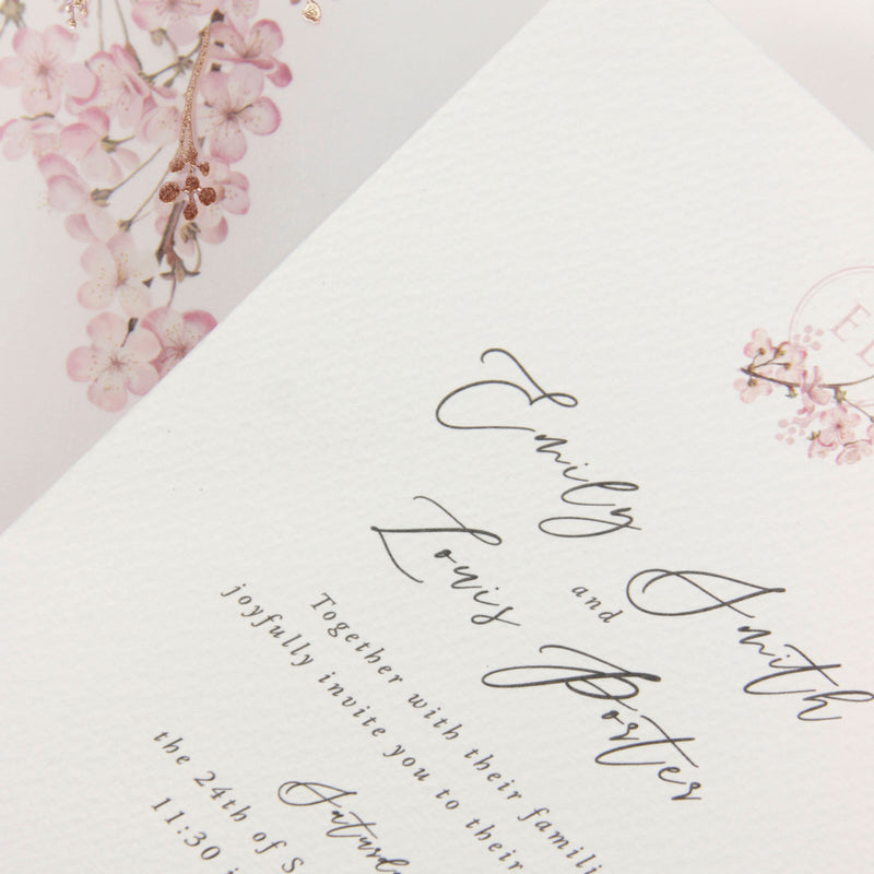 Cherry Blossom Tree Calligraphy Vellum Sleeve Invitation with Ribbon with Wax Seal