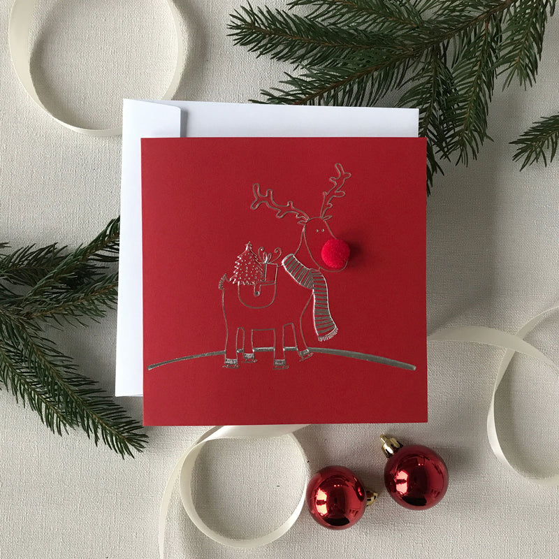 Pack of 5 Luxury Christmas Cards | The 3d Pompom Reindeer and Gold Foil Cards