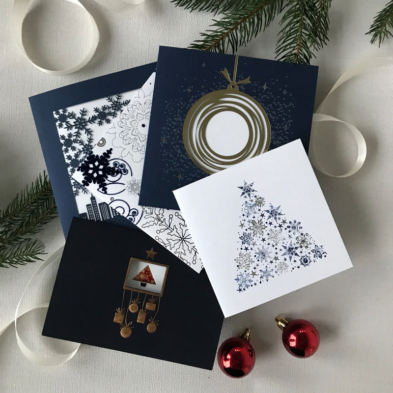 Pack of 5 Luxury Christmas Cards | Velvet and Foiled Navy Cards