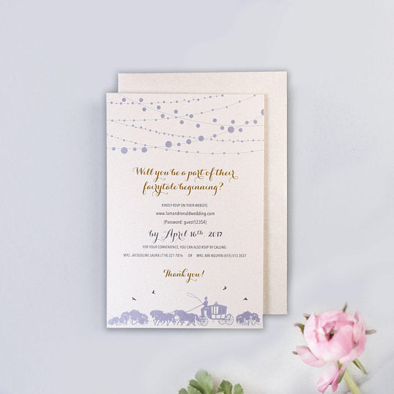 Cinderella Disney Fairy tale Dusty Blue Intricate Laser Cut Wedding Invitation Couple Personalized Names on Cover Gold foil with Envelopes