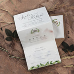 Concertina Style 3 Fold Invitation Boho Style Timeline and Venue with Kraft Envelope and Twine