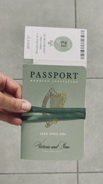 IRISH Passport Wedding Invitation with Lucky Shamrock + Rsvp/Boarding Pass
