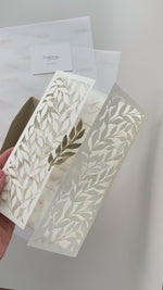 Pocket with 4 inserts in White Arch Gatefold with Intricate Laser Cut Leaf and Gold Foil