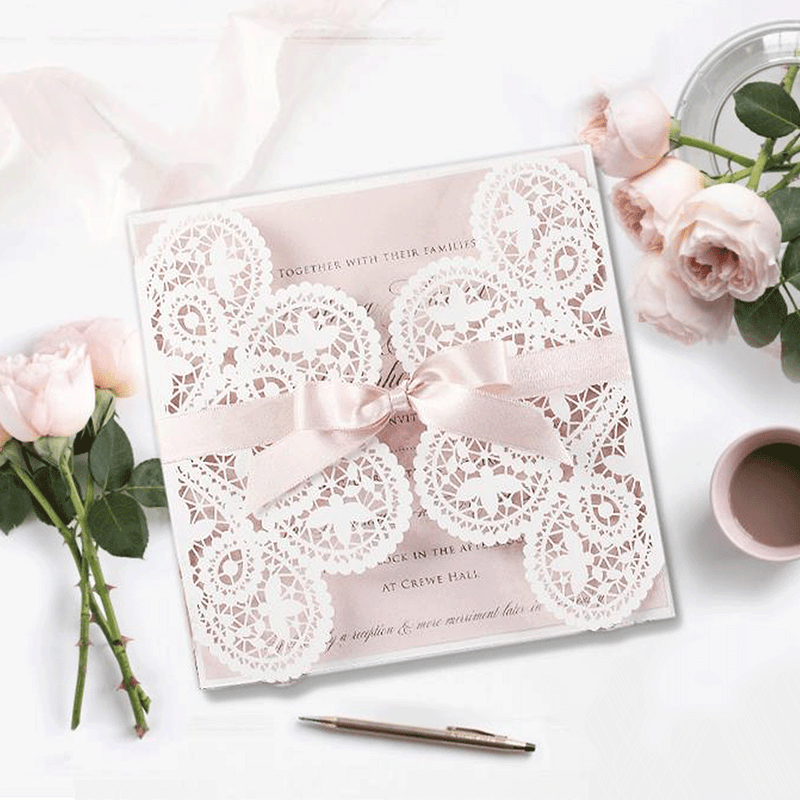 Delicate French Satin Blush Bow Laser cut Wedding Invitation with Envelope